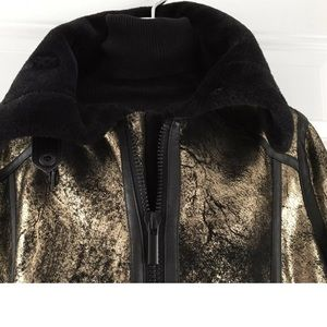 Jackets & Blazers - Gold faux leather shearling aviator jacket size s